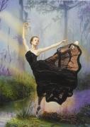 tableau personnages danseuse robe classique noire : danseuse a la robe noire