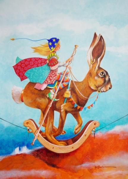 TABLEAU PEINTURE imaginaire poétique cadeau lapin Scène de genre Acrylique  - le coureur à bascule