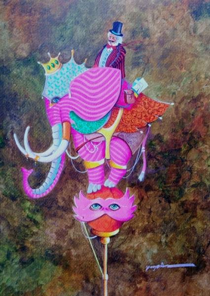 TABLEAU PEINTURE éléphant imaginaire poétique cadeau Scène de genre Acrylique  - le masque de l'éléphant