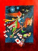 tableau scene de genre imaginaire poetique cadeau cœur : le cheval de cœur