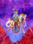 tableau scene de genre poetique imaginaire cadeau cheval : l'amazone et sa merveille