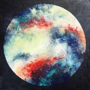 tableau abstrait abstrait colore galaxie rond : JupiTer
