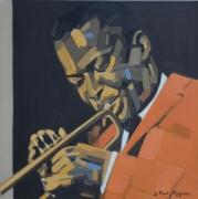 tableau personnages portrait jazz trompettiste : 'ROUND MIDNIGHT
