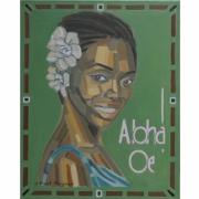 tableau personnages femme musique aloah hawai : ALOAH OE