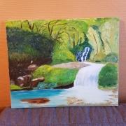tableau paysages reunion sainte suzanne eau terre : cascade des délices