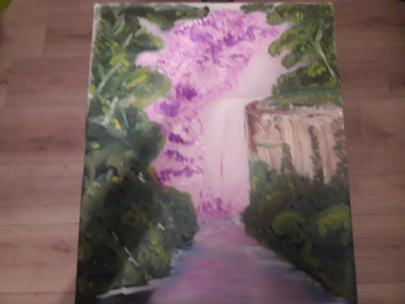 TABLEAU PEINTURE Paysages Peinture a l'huile  - Cascade rose