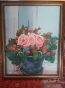 tableau fleurs : Pot de rose