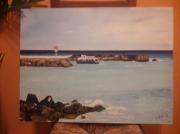 tableau marine : Le port de st Gilles la reunion