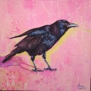 tableau animaux oiseau bird corbeau pink : Corneille en rose