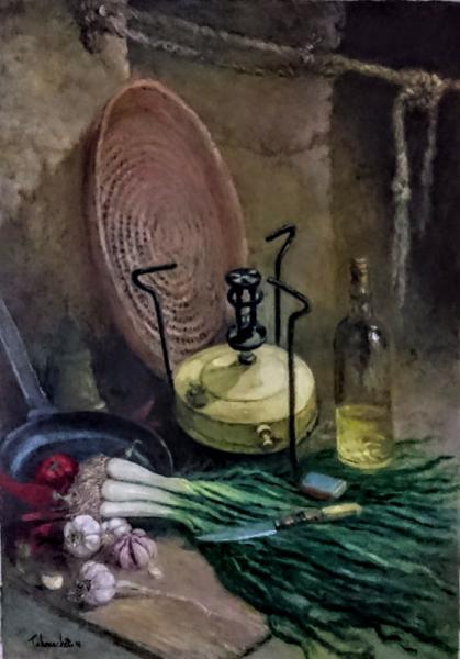TABLEAU PEINTURE Peinture a l'huile  - Nature morte avec ancien richaud