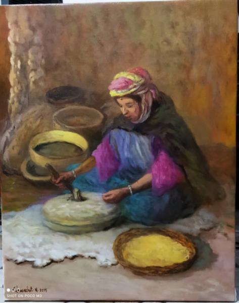 TABLEAU PEINTURE Peinture a l'huile  - Broyage avec une pierre a moulin