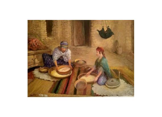 TABLEAU PEINTURE Peinture a l'huile  - Femmes prépare le coucous