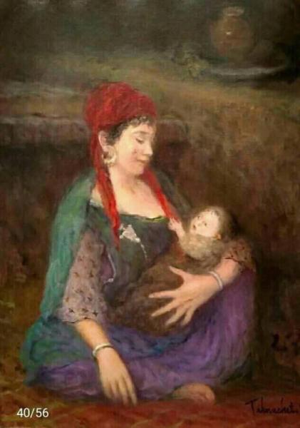 TABLEAU PEINTURE Peinture a l'huile  - femme avec son enfant