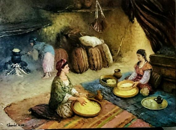 TABLEAU PEINTURE Peinture a l'huile  - Préparation pour couscous de fête