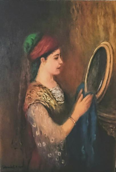 TABLEAU PEINTURE Peinture a l'huile  - Fille constantinoise se regardant dans un miroir