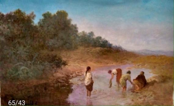 TABLEAU PEINTURE Peinture a l'huile  - les femmes à la rivière