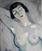 tableau personnages nu feminin buste femme melancolie beaute : A l'envers