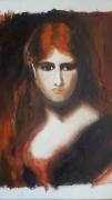 tableau personnages visage feminin rousse regard henner : Regard