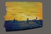 tableau sport planche de surf surfeur mer coucher de soleil : Shade of the surfer N°3