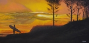 tableau surfeur landes coucher de soleil pins : Shade of the surfeur N°5