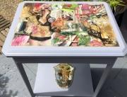 tableau table bois collage grise : je t'aime
