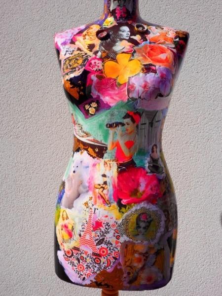 DéCO, DESIGN mannequin couleurs collage vintage Personnages  - Mannequin Pin Up