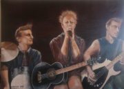 "tableau scene de genre musiciens groupe debout : ""Green Day"""