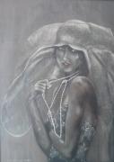 """tableau personnages femme chapeau debout buste : """"La capeline"""""""