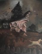 tableau personnages jeune femme fuit campagne orage : la fuite