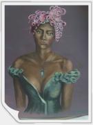 "tableau personnages femme metisse robe verte : ""La métisse"""