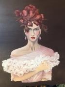 """tableau jeune femme robe fleurs : """"Lilou"""""""