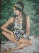 "tableau personnages femme gitane plage : ""Lantha"""