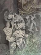 tableau personnages jeune femme assise rocher : La mort vous va si bien