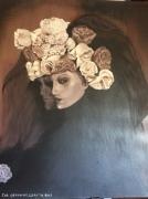 """tableau personnages femme buste chapeau tulle fleurs : """"La veuve victorienne"""""""