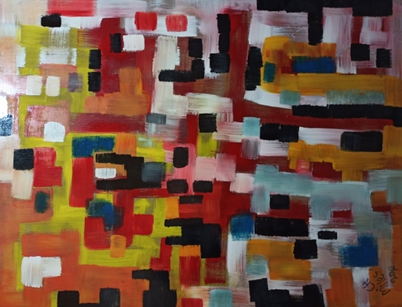 TABLEAU PEINTURE Abstract Modern Art Expressionism Hexebitionism Abstrait  - Mountain