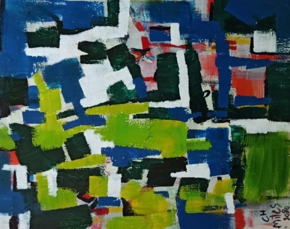 TABLEAU PEINTURE Abstract Hexebitionism Modern Art Expressionism Abstrait  - greenery