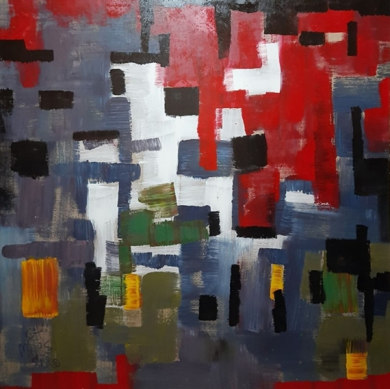 TABLEAU PEINTURE abstract Modern Art Expressionism Hexebitionism Abstrait  - Blessing