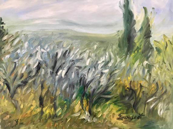 """TABLEAU PEINTURE oliviers cyprès provence nature Paysages Peinture a l'huile  - """"Champs d'oliviers en Provence"""""""