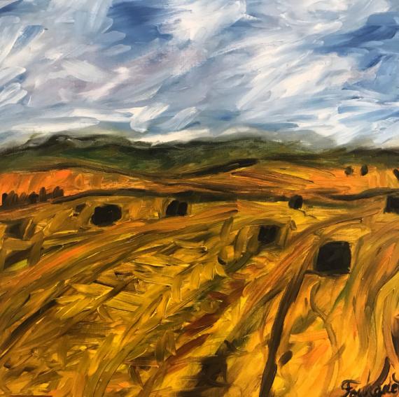"""TABLEAU PEINTURE champs blé soleil nature Paysages Peinture a l'huile  - """"Champs de blé au coucher de soleil"""""""