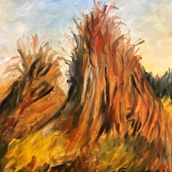 """TABLEAU PEINTURE meule foin champs nature Paysages Peinture a l'huile  - """"Meules de foin"""""""