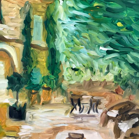 """TABLEAU PEINTURE jardin provence terrasse été Fleurs Peinture a l'huile  - """"Eté en Provence"""""""