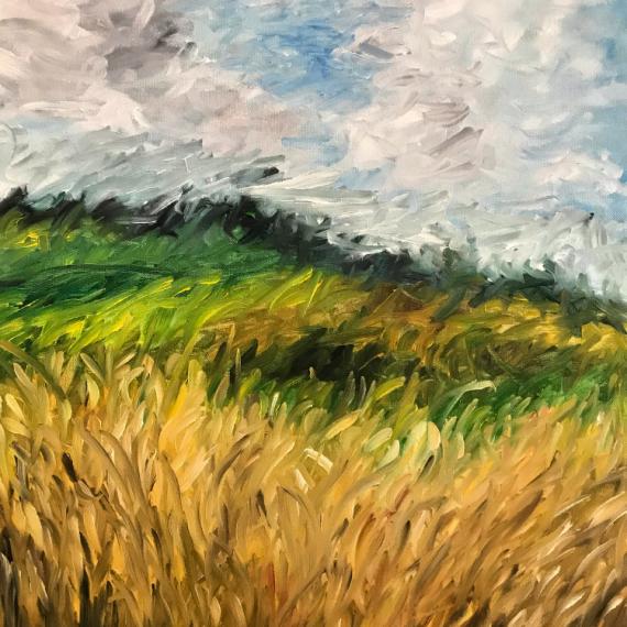 """TABLEAU PEINTURE champs blé Paysages Peinture a l'huile  - """"Champs de blé"""""""