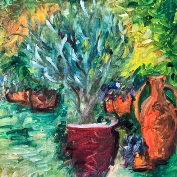 """TABLEAU PEINTURE olivier vase jardin fleurs Fleurs Peinture a l'huile  - """"Olivier dans son jardin d'été"""""""