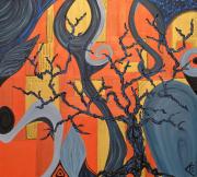 tableau abstrait tableau arbre : Paysage