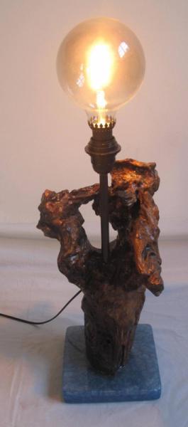 DéCO, DESIGN Luminaire bois resine  - Luminaire bois flotté bleu