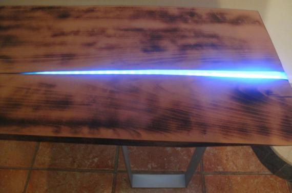DéCO, DESIGN bois table led resine  - table led
