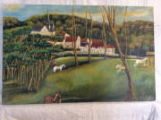 tableau paysages chevaux paturage campagne heureuse : Le Paturage