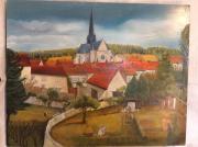 tableau paysages champagne orbais l ,a village abbaye et toits env sceine champetre : Le village d orbais l abbaye represnte le village d orbais l abb