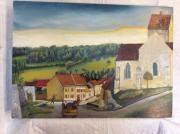 tableau paysages champagne eglise village vendange : Le Breuil