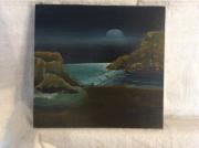 tableau paysages lune nuit sombre rochers mer : Pysage lunaire